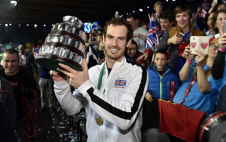 Com Andy Murray como principal tenista, Grã-Bretanha se beneficiou pelo título de 2015 e garantiu convite ao lado da Argentina (campeã em 2016) para jogar as finais na Davis 2019            Crédito: Paul Zimmer