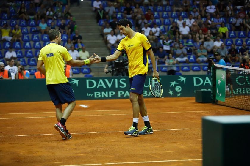 Bruno Soares e Marcelo Melo na Copa Davis de 2018 em Uberlândia